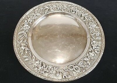 "Antique Sterling Silver Repousse 11"" Round Tray ~ 22.78 Troy Oz"