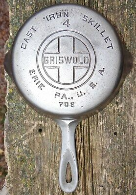 "Griswold 702 Cast Iron Skillet #4 Large Logo 7"" Nickel/Chrome Vtg Antique"