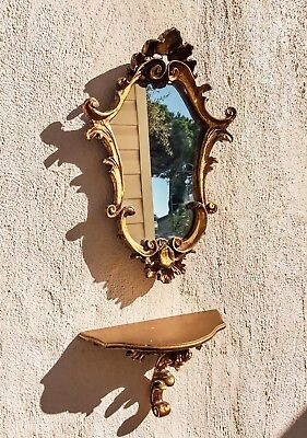 Petite Gilt French Antique Mirror with Matching Wall Table