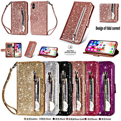 New Bling Glitter Zipper Leather Flip Wallet Case Cover for Galaxy Note9 S9 S8