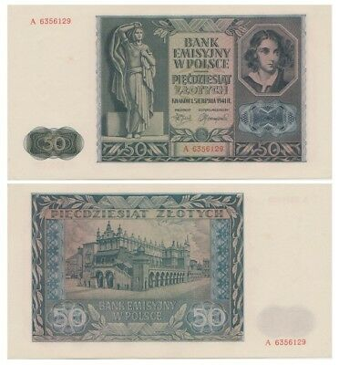 5o Zlots Polish banknote issued in 1941 A aunc