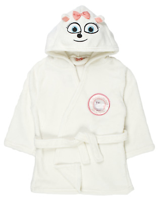 Girls The Secret Life Of Pets Hooded Fleece Dressing Gown Gidget Bath Robe Size