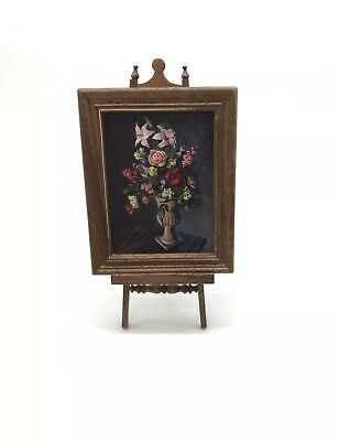 Dollhouse Miniature Artisan Signed Jeff Wilkerson Floral Oil Painting (A)