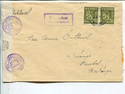 Finland censor air mail cover to Sweden 4.6.1944