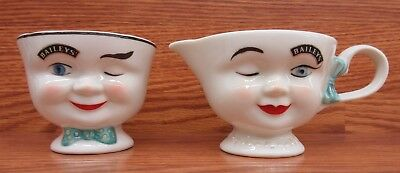 Bailey's 1996 Limited Edition Winking Man & Lady Open Sugar and Creamer Set