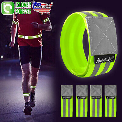 Pack of 10 Reflective Safety Arm Bands Stretchy Wrist Ankle Ribbon Strap Running
