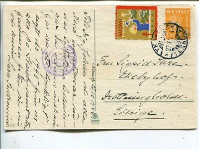 Finland censor post card to Sweden 27.12.1944, tied Christmas seal
