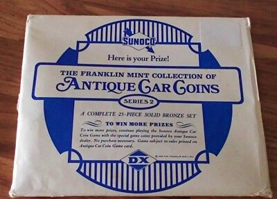 1969 Sunoco Dx Oil Antique Car 25-Pc Bronze Coin Set Sealed Pack Franklin Mint