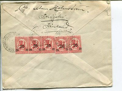 Finland 5x20/10p on reg cover to Sweden 19.12.1920