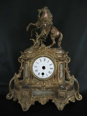 Antique Rearing Horse Gilt Metal French Clock Case. Spares Or Repair