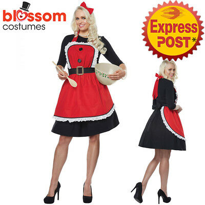 CA838 Mrs Santa Claus Christmas Xmas Red Cooking Apron Headband Womens Costume
