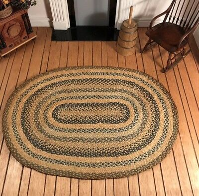 Dollhouse Miniature Artisan Signed Lady Jane Braided Oval Rug (R)