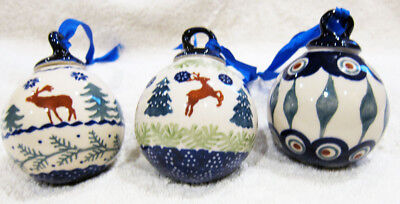 "Boleslawiec Polish Pottery Christmas Holiday  Ornament  BALL 3"" New"