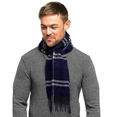 Mens Tom Franks Long Scarf Soft Brushed Scarves Check or Herringbone Pattern