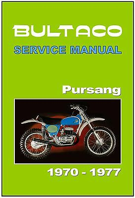 BULTACO Workshop Manual Pursang 350 250 1970 1971 1972 1973 1974 1975 1976 1977