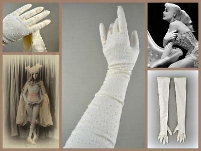 vintage 50's showgirl stretch nylon rayon opera gloves ivory sequin beaded 7.5