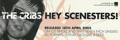 7.5cm X 21cm Rare Promotional Sticker   THE CRIBS   Hey Scenesters!   NEW / MINT