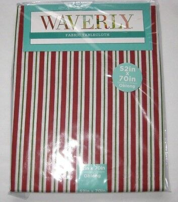 """Waverly Fabric Tablecloth Cotton Stripe Red White Green 60 52 70 84"""" XMAS NEW"""