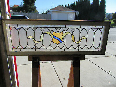 ~ Antique American Stained Glass Transom Window ~ 52 X 18  Architectural Salvage