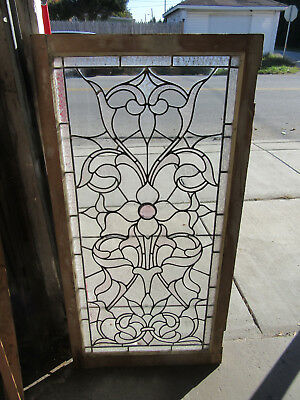 ~ ANTIQUE AMERICAN STAINED GLASS WINDOW ~ 24.5 x 48.75 ~ ARCHITECTURAL SALVAGE