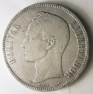 1912 VENEZUELA 5 BOLIVARES - VERY Rare Early Date Silver Crown Coin - Lot #N7
