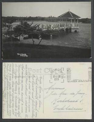 Singapore 1959 Old Real Photo Postcard Reservoir Lake Pavilion Bridge Pier Jetty