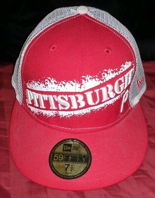 the latest 2d9ce 802e6 ... new style pittsburgh pirates hat new era 59fifty baseball cap fitted 7  1 2 htf red ...