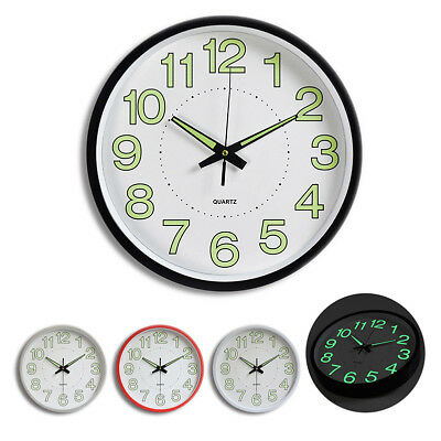 Large Non-Ticking Wall Clock Glow In The Dark Silent Quartz Home Office Decor