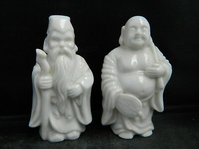SALT & PEPPER SHAKERS small Oriental Asian pair all White Wizard Budda