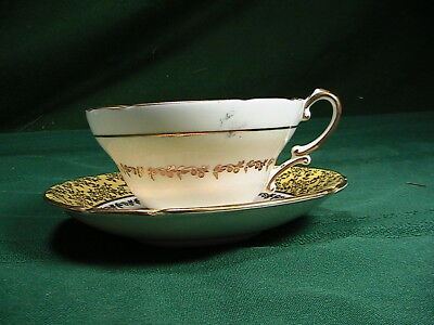 Yellow and Gold with Purple Violets Stanley Tea Cup and Saucer Set