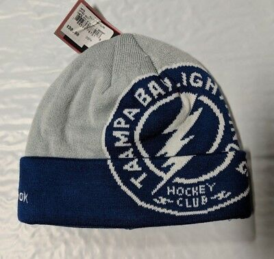 Tampa Bay Lightning Knit Beanie Toque Winter Hat Cap NHL New Big Logo Cuffed Pom