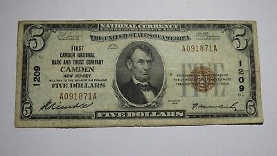 $5 1929 Camden New Jersey NJ National Currency Bank Note Bill Ch. #1209 Fine!