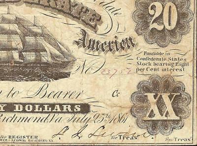 """1861 $20 """" Double Treasr """" Confederate States Currency Civil War Note T-9 Pf-6"""