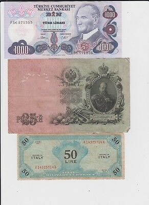 World Paper Money Collection  15 old notes lower grade and up
