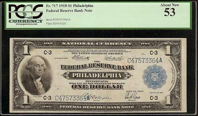 LARGE 1918 $1 DOLLAR GREEN EAGLE FEDERAL RESERVE BANK NOTE Fr 717 PCGS 53