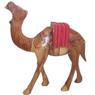 """Olive Wood Camel With Red Saddle(7.2""""H)"""