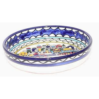 Jerusalem city walls and gates view Armenian ceramic Bowl - Medium (6 inches in