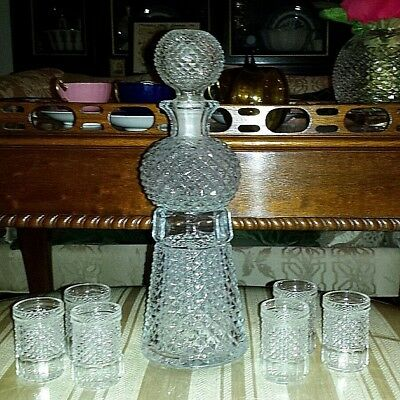 Vint MCM BARWARE DIAMOND CUT GLASS DECANTER SET 6 COCKTAIL GLASSES MINT!