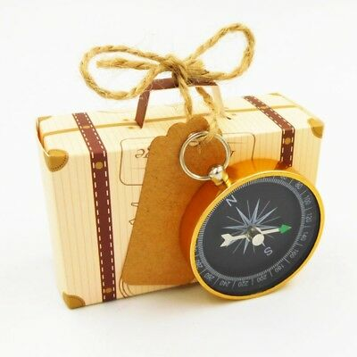 1×Travel Suitcase Candy Box With Gold Compass Wedding Gift Favor Party Supplies