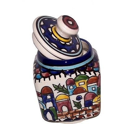 Jerusalem Sugar Pot - Square - Ceramic painted by hand ( 4 Inches ) - Old City