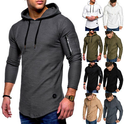 New Fashion Slim Fit Men's Shirts Round Neck Long Sleeve Solid Color Hoodie AU