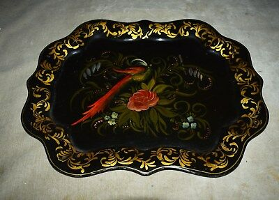 Antique Tole Tray Toleware - Authentic - Floral & Fantasy Bird - Handpainted