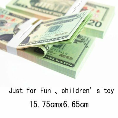 100 PCS $20 Dollar Play Prop Money Sided Life Size Full Print Double Sided Play