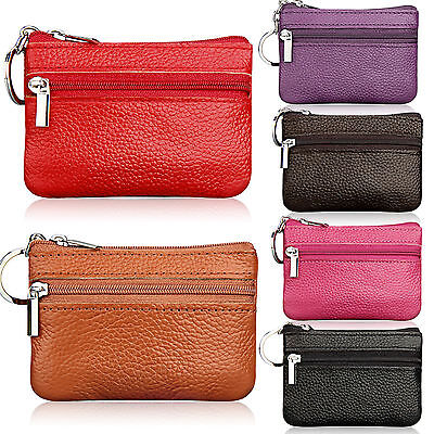 Womens Leather Coin Card Key Wallet Pouch Holder Mini Purse Zip Small Change Bag