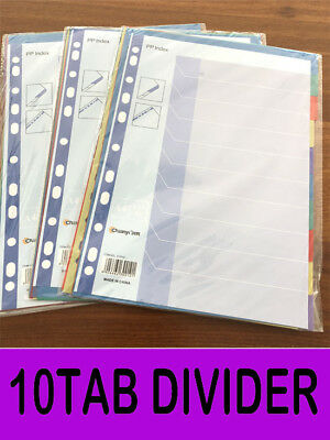 3x Packs 10 Tab Coloured Divider Index Tab A4 File Divider Indices