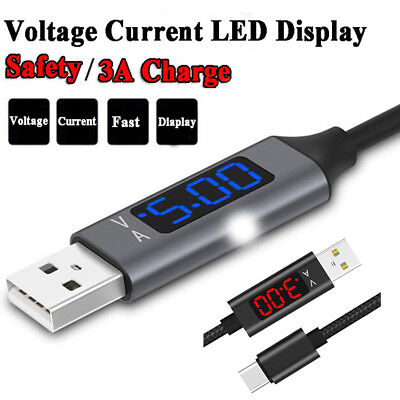 Nylon Braided Voltage Current LED Display Fast Charging & Data Cable Universal
