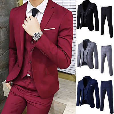 Retro Men's Solid Color Business Casual Suit Three-piece Suit Suit + Vest + Pant