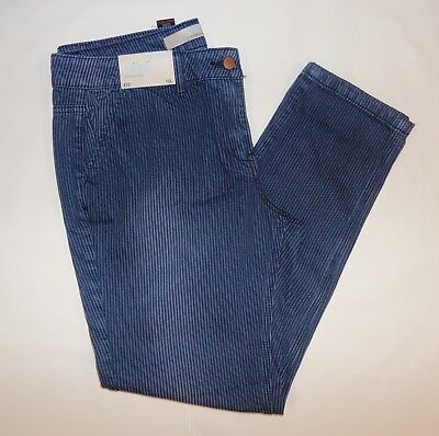 Tagged @ £32.00!!  Next 2 Tone Blue Striped Denim Taper Jeans.   Size 12 Long.