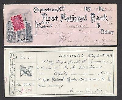 2 Cooperstown New York Bank Checks 1893-1899