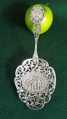 Early 20th Century Large Ornate Pierced Dutch Silver Compote Serving Spoon 87g